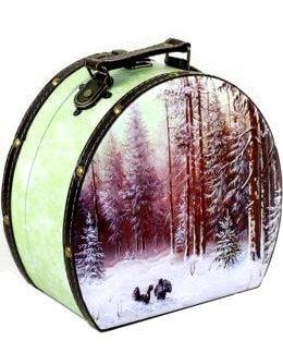 """Саквояж """"Утро в лесу"""" дерево-кожа 900 гр"""
