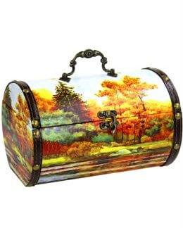 Шкатулка Осенняя дерево-кожа 900 гр