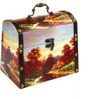 Шкатулка Золотая осень дерево-кожа 1300 гр