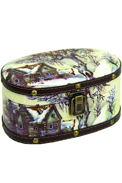 Шкатулка Хуторок (дерево-кожа) 500 гр