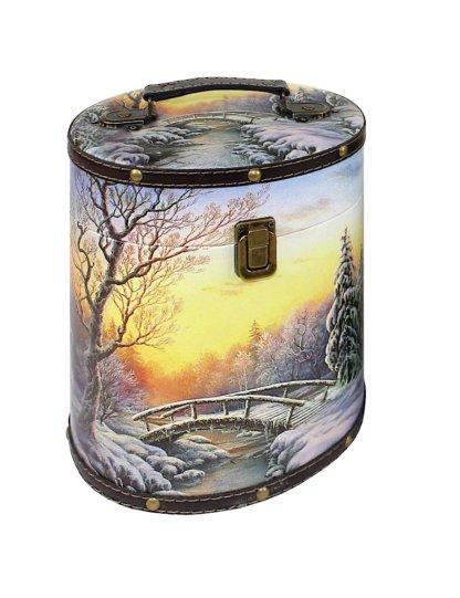 Туес Вечерняя заря (дерево-кожа) 900 гр